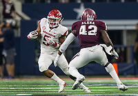Hawgs Illustrated/Ben Goff<br /> Rakeem Boyd, Arkansas running back, evades Otaro Alaka, Texas A&M linebacker, in the 4th quarter Saturday, Sept. 29, 2018, during the Southwest Classic at AT&T Stadium in Arlington, Texas.