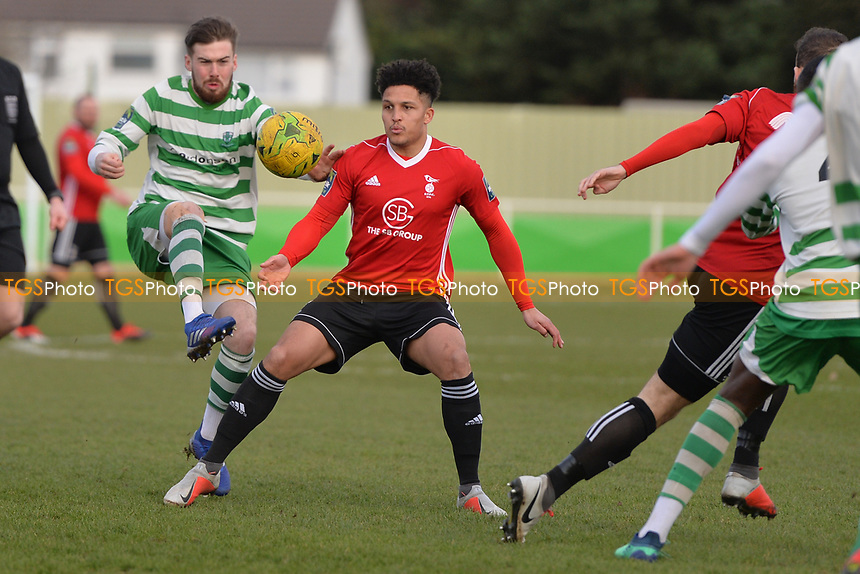 Jack Stevenson Of Waltham Abbey and Harrison Bayley of Bracknell Town during Waltham Abbey vs Bracknell Town, Bostik League South Central Division Football at Capershotts on 9th February 2019