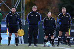 21 November 2014: Match officials (from left): Assistant referee Cliff Clement, Fourth official Patrick Schmidt, Referee Moo Hackett, and Assistant referee Daniel Burak. The University of South Carolina Gamecocks played the Seattle University Redhawks at Fetzer Field in Chapel Hill, NC in a 2014 NCAA Division I Women's Soccer Tournament Second Round match. South Carolina advanced by winning the Penalty Shootout 2-1 after the game ended in a 0-0 tie after double overtime.