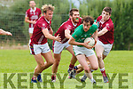 Donal Dennehy Milltown Castlemaine breaks away from Cromanes Donnchadh Walsh Niall Dennehy and Darren Houlihan during their Mid Kerry clash in Cromane on Saturday