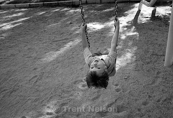 Noah Nelson on the swing at South Park.<br />