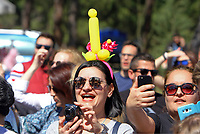 Pictured: A woman wears a penis shaped hat during the Bourani celebrations in Tirnavos, central Greece. Monday 11 March 2019<br /> Re: Bourani (or Burani) the infamous annual carnival which dates to 1898 which takes place on the day of (Clean Monday), the first days of Lent in Tirnavos, central Greece, in which men hold phallus shaped objects as scepters in their hands.