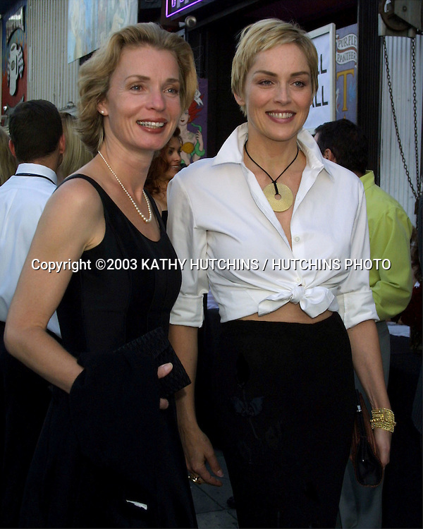 ©2003 KATHY HUTCHINS/ HUTCHINS PHOTO.PROJECT ANGEL FOOD ANNUAL BENEFIT DINNER.LOS ANGELES, CA.AUGUST 9, 2003..SHARON STONE.FRIEND