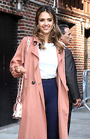 NEW YORK, NY-September 08:  Jessica Alba at the Late Show with Stephen Colbert  to talk about her new movie Mechanic Resurrection and her business the Honest Company in New York. September 08, 2016. Credit:RW/MediaPunch