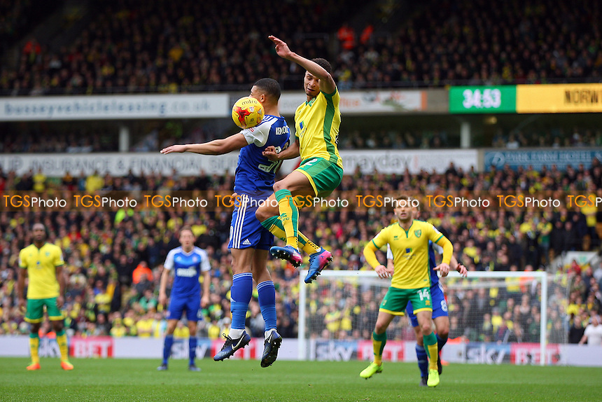 Myles Kenlock of Ipswich Town and Jacob Murphy of Norwich City both going for the aerial ball during Norwich City vs Ipswich Town, Sky Bet EFL Championship Football at Carrow Road on 26th February 2017