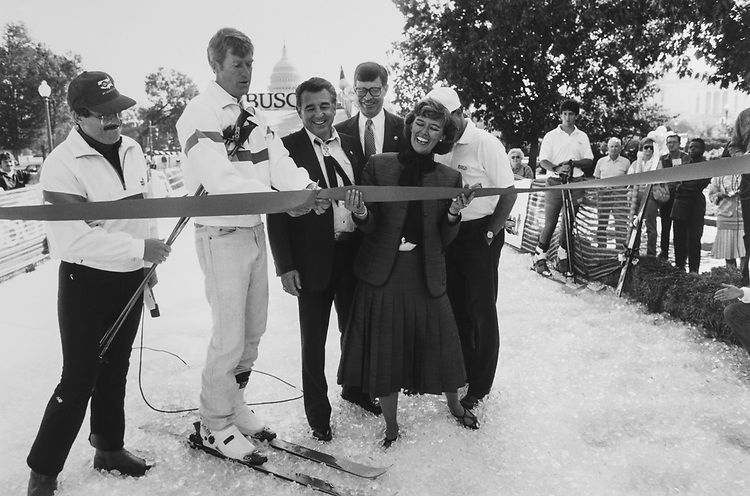 Tim Wirth, Counselor of the Department of State, Rep, Patricia Schroeder, D-Colo., and Sen. Ben Nighthorse Campbell, D-Colo., cutting ribbon on Capitol Hill for skiing. 1997 (Photo by CQ Roll Call via Getty Images)