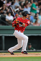 Shortstop Javier Guerra (31) of the Greenville Drive bats in a game against the Augusta GreenJackets on Thursday, June 11, 2015, at Fluor Field at the West End in Greenville, South Carolina. Guerra is the No. 13 prospect of the Boston Red Sox, according to Baseball America. Greenville won, 10-1. (Tom Priddy/Four Seam Images)