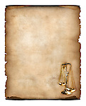 Stock photo-illustration of an Old piece of parchment with justice scales symbol in the corner Yellowish vintage paper background isolated on white This image will be a great background for Legal professions such as a lawyer attorney jurist legal expert notary or as a notarial document or a certificate artistic background
