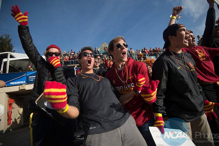 BERKELEY, CA - DECEMBER 04:  Fans from the University of Southern California cheer during the Division I Men's Water Polo Championship held at the Spieker Aquatics Complex on December 04, 2016 in Berkeley, California.  Cal defeated USC 11-8 for the national title. (Photo by Justin Tafoya/NCAA Photos via Getty Images)