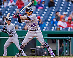 15 April 2018: Colorado Rockies first baseman Ian Desmond at bat against the Washington Nationals at Nationals Park in Washington, DC. All MLB players wore Number 42 to commemorate the life of Jackie Robinson and to celebrate Black Heritage Day in pro baseball. The Rockies edged out the Nationals 6-5 to take the final game of their 4-game series. Mandatory Credit: Ed Wolfstein Photo *** RAW (NEF) Image File Available ***