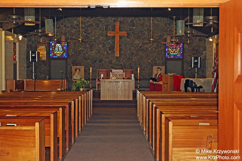 Inside view of Liliuokalani Protestant Church, Haleiwa, Oahu, Hawaii