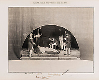 BNPS.co.uk (01202 558833)<br /> Pic: ForumAuctions/BNPS<br /> <br /> Pictured: A scene that shows Nelson on his deathbed on the Victory.<br /> <br /> Charming previously unseen photos of a university's historic Thomas Hardy's production have come to light a century later.<br /> <br /> They show the performance of his play 'The Dynasts' by the Oxford Union Dramatic Society in 1920.<br /> <br /> It was the first time the prestigious society, which was founded in 1885, staged a play by a living author.<br /> <br /> The large ensemble cast can be seen in costume performing various scenes from Hardy's epic Napoleonic Wars drama which was published in three parts in 1904, 1905 and 1908.<br /> <br /> Hardy was a distant relative of Captain Thomas Hardy, who served with Admiral Nelson at the Battle of Trafalgar.