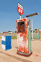 Old gas pumps at Phillips 66 station along Route 66 in Adrian, Texas