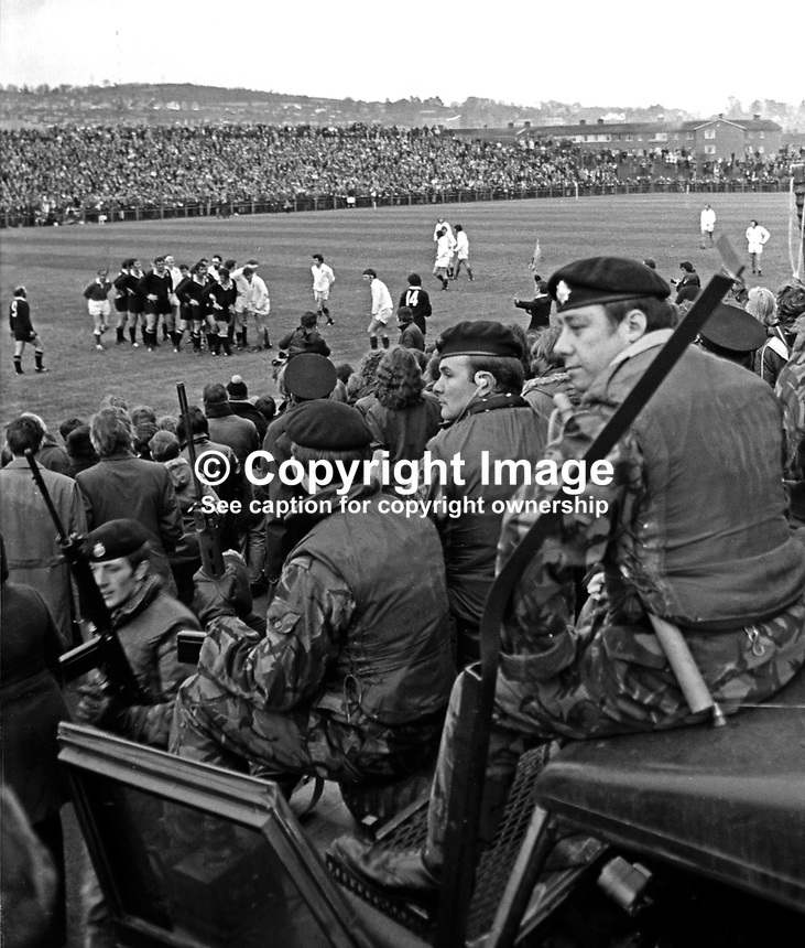 New Zealand All Blacks meet Ulster at Ravenhill, Belfast, N Ireland, 18th November 1972. The All Blacks won 16-9. The game was played at the height of The Troubles in N Ireland and security was very much in evidence.<br />