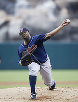 C.C. Sabathia of the Cleveland Indians pitches during a 2002 MLB season game against the Los Angeles Angels at Angel Stadium, in Los Angeles, California. (Larry Goren/Four Seam Images)