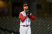 Stockton Ports relief pitcher Andrew Tomasovich (21) prepares to deliver a pitch during a California League game against the Rancho Cucamonga Quakes at Banner Island Ballpark on May 16, 2018 in Stockton, California. Rancho Cucamonga defeated Stockton 6-3. (Zachary Lucy/Four Seam Images)