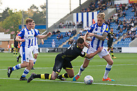 Ollie Palmer of Crawley Town goes to ground in a tussle with Frankie Kent of Colchester United, but no infringement given during Colchester United vs Crawley Town, Sky Bet EFL League 2 Football at the JobServe Community Stadium on 13th October 2018