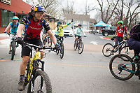 NWA Democrat-Gazette/CHARLIE KAIJO Riders take off for an all-women's bike ride, Friday, March 23, 2018 that started at the Record and ended at Slaughter Pen Trail in Bentonville. <br /><br />The International Mountain Biking Association held an event called Uprising to try and increase female participation in mountain biking. The group did a trail ride at Slaughter Pen leaving from the Record