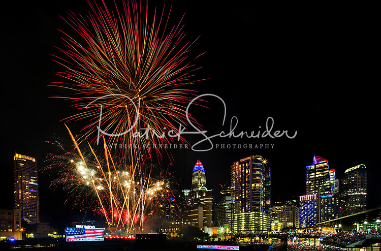 Fireworks from Skyshow Charlotte  2018 explode over BB&amp;T Ballpark against the backdrop of the Charlotte NC skyline as the city celebrated the July 4th holiday in 2018. Photographer has fireworks celebrations in Charlotte from multiple years. The collection of Charlotte NC fireworks photos show different perspectives and weather conditions.<br /> <br /> Charlotte Photographer - PatrickSchneiderPhoto.com