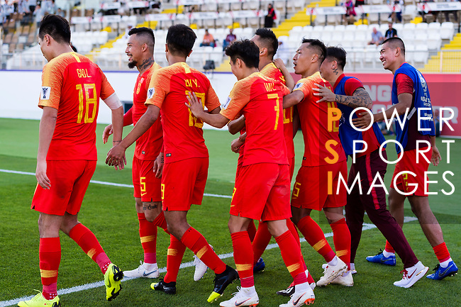 Chinese players celebrates Yu Dabao scoring the team's second goal during the AFC Asian Cup UAE 2019 Group C match between China (CHN) and Kyrgyz Republic (KGZ) at Khalifa Bin Zayed Stadium on 07 January 2019 in Al Ain, United Arab Emirates. Photo by Marcio Rodrigo Machado / Power Sport Images