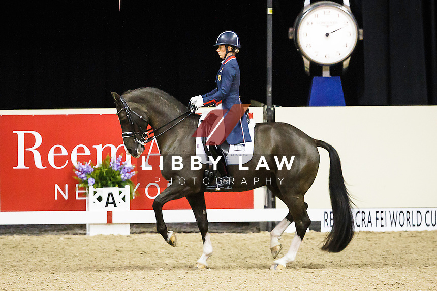 TITLE WINNER: GBR-Charlotte Dujardin (VALEGRO) 1ST-REEM ACRA FEI WORLD CUP DRESSAGE FINAL 1: Grand Prix Dressage (Thursday 16 April) 2015 FEI World Cup Finals at the Thomas and Mack Centre, Las Vegas, Nevada, USA: CREDIT: Libby Law COPYRIGHT: LIBBY LAW PHOTOGRAPHY