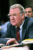 United States Attorney General Edwin Meese, III testifies before the US House Select Committee to Investigate Covert Arms Transactions with Iran / US Senate Select Committee on Secret Military Assistance to Iran and the Nicaraguan Opposition (Iran/Contra Committee) on Capitol Hill in Washington, DC on July 28, 1987.<br /> Credit: Ron Sachs / CNP