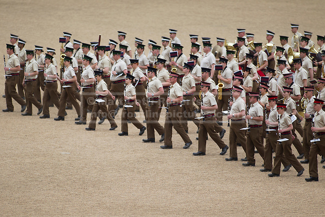 10/06/2013. London, UK. The Massed Bands of the British Army's Household Division carry out a dress rehearsal ahead of the annual Beating Retreat ceremony in London today (10/06/2013). The musical event, which takes place on Horse Guards Parade, will be held on the 12th and 13th of June this year, with Prince Philip and the Queen attending. Photo credit: Matt Cetti-Roberts.