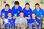 Being honored at the Castleisland Community College awards on Thursday front row l-r: James Cronin, Hubert Kloskowski, Aine Daly. Back row: Damien O'Sullivan, Niall O'Mahony, Liam Lyons and JJ Casey ..