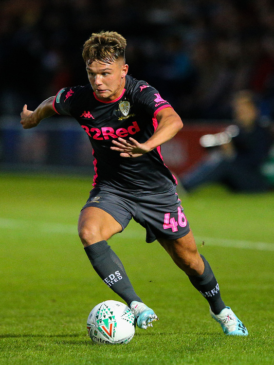 Leeds United's Jamie Shackleton<br /> <br /> Photographer Alex Dodd/CameraSport<br /> <br /> The Carabao Cup First Round - Salford City v Leeds United - Tuesday 13th August 2019 - Moor Lane - Salford<br />  <br /> World Copyright © 2019 CameraSport. All rights reserved. 43 Linden Ave. Countesthorpe. Leicester. England. LE8 5PG - Tel: +44 (0) 116 277 4147 - admin@camerasport.com - www.camerasport.com