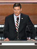 United States Army Lieutenant General Michael T. Flynn, retired, former director, Defense Intelligence Agency makes remarks at the 2016 Republican National Convention held at the Quicken Loans Arena in Cleveland, Ohio on Monday, July 18, 2016.<br /> Credit: Ron Sachs / CNP
