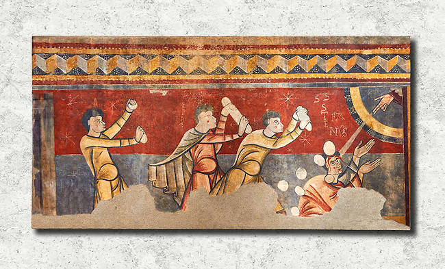 The Stoning of St. Stephen<br /> <br /> Circa 1100s<br /> <br /> Fresco Transfer to canvas<br /> <br /> From the Church of Saint Joan Boi, Val de Boi, High Ribagorca, Pyranese, Spain.<br /> <br /> Acquired in 1919-1923 by the National Art Museum of Catalonia, Barcelona.<br /> MNAC 15953<br /> <br /> The 12th century fresco of the Stoning of St. Stephen is one of the best scenes in the mural decoration Boi. The interest in narrative and dynamism are characteristic of a pictorial style of the Poitiers region of France, which is also linked with the rich Limousin painting of the late eleventh century. From the iconographic point of view, the scene is an early example of the interest of Romanesque art to the lives of saints. St Joan de Boi is a UNESCO World Hertiage Site.