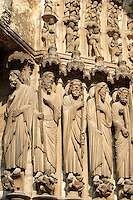 "Medieval Gothic Sculptures of the South portal  of the Cathedral of Chartres, France. The portal shaows the Last Judgement and the small figures represent ""The blessed"". A UNESCO World Heritage Site."