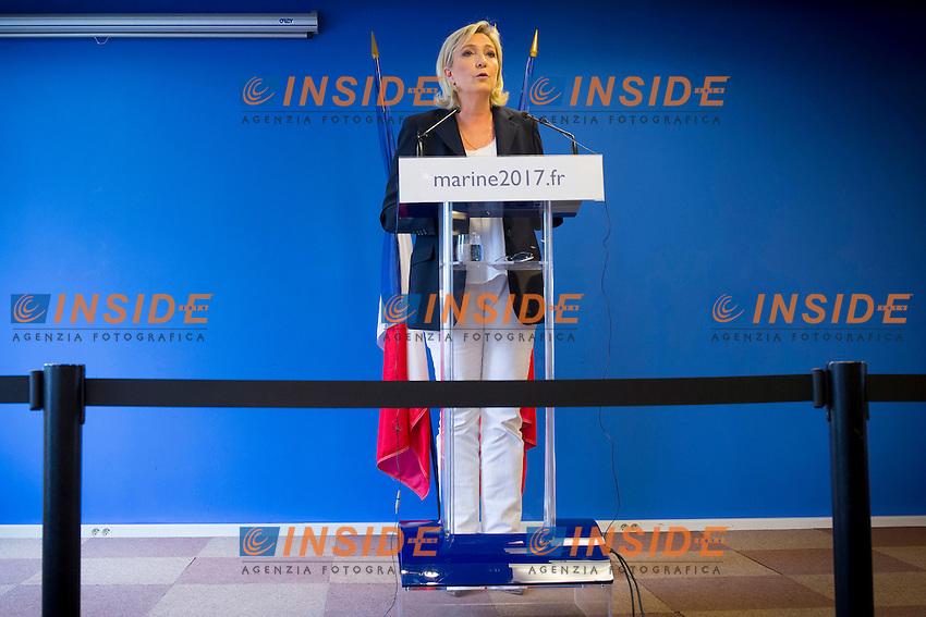 Marine Le Pen<br /> Nanterre 16/7/2016 Conferenza stampa di Marine Le Pen dopo gli attentati di Nizza<br /> Foto Stephen Caillet / Panoramic/ Insidefoto
