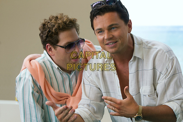 Jonah Hill, Leonardo DiCaprio<br /> in The Wolf of Wall Street (2013) <br /> *Filmstill - Editorial Use Only*<br /> CAP/NFS<br /> Image supplied by Capital Pictures
