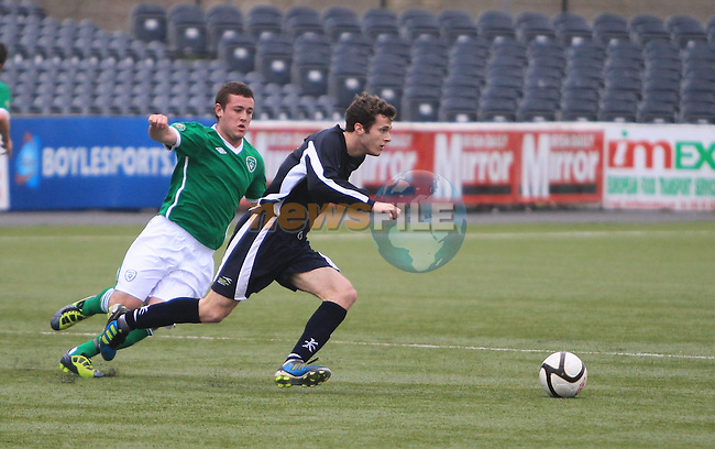 during the Colleges Football association of Ireland V Scottish Universities match in Oriel Park, Dundalk, Co Louth. 14/03/2012.Picture Fran Caffrey www.newsfile.ie