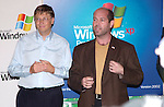 Microsoft Chairman and Chief Software Architect Bill Gates and CompUSA CEO Larry Mondry celebrate the launch of Windows XP at CompUSA October 24, 2001 in New York. Windows XP is the latest operating system from  Microsoft. (Photo by Lawrence Lucier)