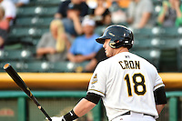 C.J. Cron (18) of the Salt Lake Bees at bat against the New Orleans Zephyrs in Pacific Coast League action at Smith's Ballpark on August 27, 2014 in Salt Lake City, Utah.  (Stephen Smith/Four Seam Images)