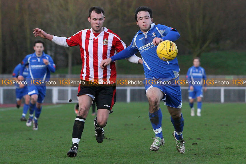 Martin Tuohy of Hornchurch tussles with Sam Gaughran - AFC Hornchurch vs Lowestoft Town - Ryman League Premier Division Football at the Stadium - 02/01/12 - MANDATORY CREDIT: Gavin Ellis/TGSPHOTO - Self billing applies where appropriate - 0845 094 6026 - contact@tgsphoto.co.uk - NO UNPAID USE.