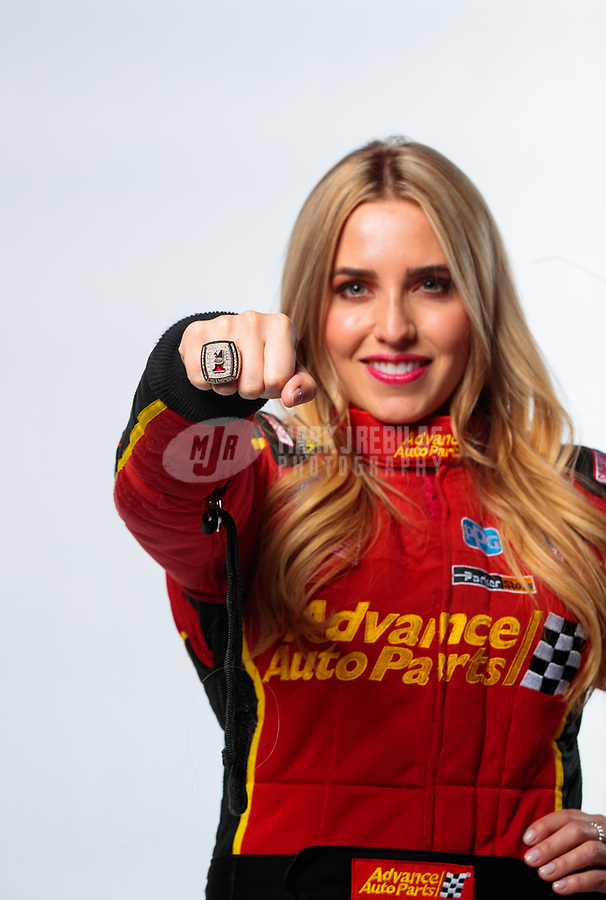 Feb 6, 2019; Pomona, CA, USA; NHRA top fuel driver Brittany Force poses for a portrait wearing her world championship ring during NHRA Media Day at the NHRA Museum. Mandatory Credit: Mark J. Rebilas-USA TODAY Sports