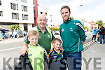 Cormac O'Sullivan, Diarmuid O'Shea, Darragh O'Shea and Killian Lynch, Dromid Pearses, supporting Kerry at the All-Ireland football semi-final in Croke Park on Sunday.