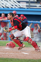Williamsport Crosscutters catcher Juan Castillo during the first game of a double header vs. the Batavia Muckdogs at Dwyer Stadium in Batavia, New York;  August 25, 2010.   Batavia defeated Williamsport 4-3.  Photo By Mike Janes/Four Seam Images