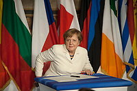 Rome, Italy, March 25,2017. German Chancellor Angela Merkel signs a declaration during an EU summit meeting at the Orazi and Curiazi Hall in the Palazzo dei Conservatori in Rome. European Union leaders were gathering in Rome to mark the 60th anniversary of their founding treaty and chart a way ahead following the decision of Britain to leave the 28-nation bloc.