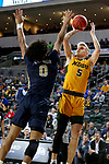 SIOUX FALLS, SD - MARCH 8: Sam Griesel #5 of the North Dakota State Bison shoots over Vinnie Shahid #0 of the North Dakota State Bison at the 2020 Summit League Basketball Championship in Sioux Falls, SD. (Photo by Dave Eggen/Inertia)