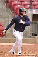 Cedar Rapids Kernels first baseman Gabe Snyder (24) swings at a pitch against the Burlington Bees at Veterans Memorial Stadium on April 14, 2019 in Cedar Rapids, Iowa.  The Bees won 6-2.  (Dennis Hubbard/Four Seam Images)