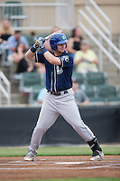Brendan Rodgers (1) of the Asheville Tourists at bat against the Kannapolis Intimidators at Intimidators Stadium on May 28, 2016 in Kannapolis, North Carolina.  The Intimidators defeated the Tourists 5-4 in 10 innings.  (Brian Westerholt/Four Seam Images)