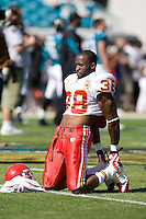 November 08, 2009:    Kansas City Chiefs safety DaJuan Morgan (38) warms up prior to the start of  between the AFC West  Kansas City Chiefs and AFC South Jacksonville Jaguars at Jacksonville Municipal Stadium in Jacksonville, Florida............