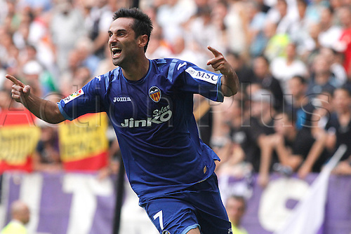 19.08.2012 Madrid, Spain. La Liga Football Real Madrid vs. Valencia CF - Jonas celebrates his goal for 1-1