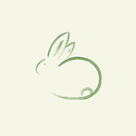 Cute round bunny rabbit with long ears, artistic oriental style illustration, original Zen style sumi-e artwork based design, green on light lime green background