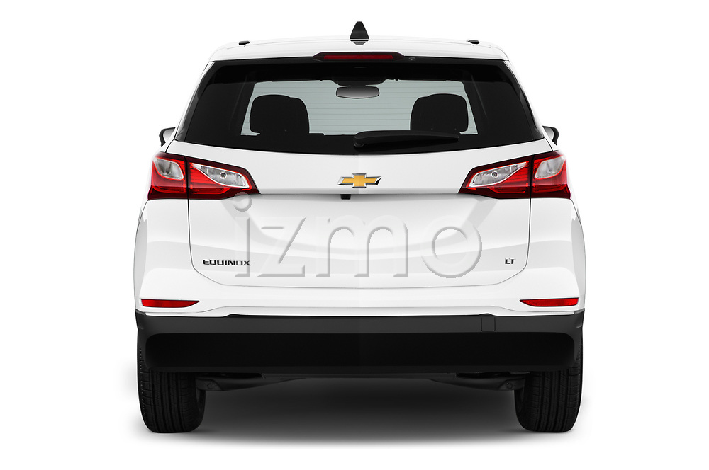 Straight rear view of a 2019 Chevrolet Equinox LT 5 Door SUV stock images