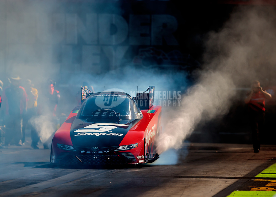 Jun 15, 2018; Bristol, TN, USA; NHRA funny car driver Cruz Pedregon does a burnout during qualifying for the Thunder Valley Nationals at Bristol Dragway. Mandatory Credit: Mark J. Rebilas-USA TODAY Sports